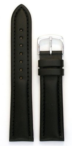 Men's Genuine Italian Leather Watchband Chronograph Style Black 20mm Watch Band