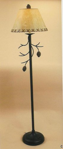 "Pine Cone Tree Branch ""Twig Cabin Lodge"" Standing Metal Floor Lamp"