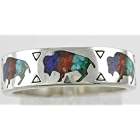 Buffalo Band Ring with Turquoise, Coral, Lapis &amp; Malachite Inlay in Sterling Silver, #10828