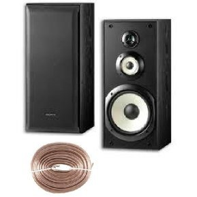 "Sony Powerful 120 Watts 3 Way 8"" Bookshelf Speakers (Pair) Plus 100Ft Speaker Wire"