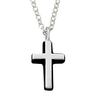 .925 Sterling Silver Cross Pendant Necklace in a Silver Polished Finish and Black Onyx Border Men's Religious Jewelry Men's Gift Boxed.Chain Necklace Type: Cable Chain Necklace w/Chain Necklace 22