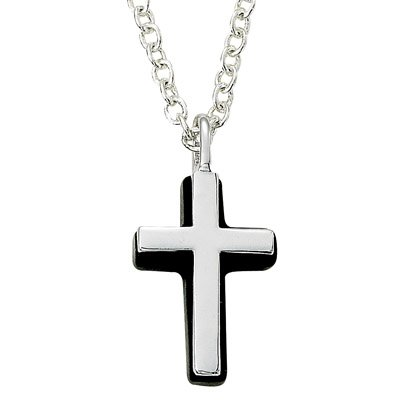 Sterling Silver Cross Necklace in a Silver Polished