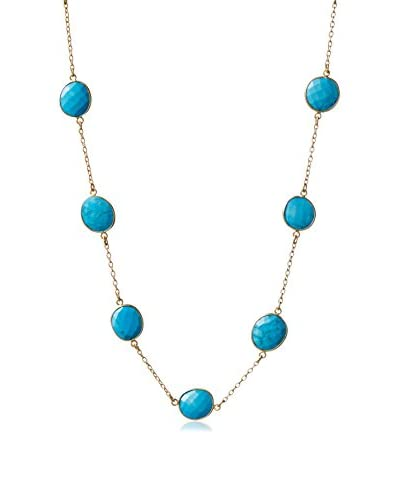 Liv Oliver 18K Gold-Plated Turquoise Long Statement Necklace