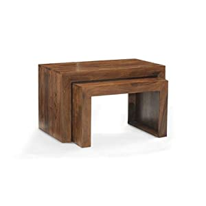 CUBE NEST OF 2 TABLES LARGE SHEESHAM 100 % HARDWOOD INDIAN FURNITURE LIVING ROOM       Customer reviews and more information