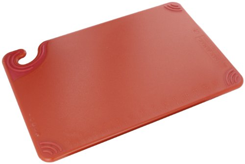 "San Jamar Cbg121812 Saf-T-Grip Co-Polymer Standard Size Cutting Board, 18"" Length X 12"" Width X 1/2"" Thick, Red front-463429"