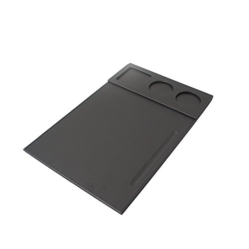 Richblue Multi-Functional Pu Leather Write Pad Desk Mat, With 3 Cup/Drink Holders+ 1 Pen Holder For Meetings Or Conferences, Black(1239)