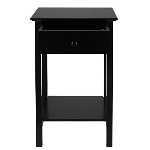 ELEGAN EBA01 Wood Square Side Table Nightstand with Drawer Black Finish