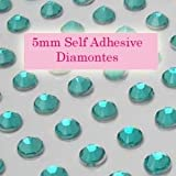 300 Aqua Green 5mm Acrylic Rhinestone Gems ~ Self Adhesive
