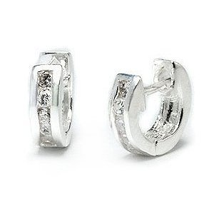 Bling Jewelry Tiny CZ Sterling Silver Huggie Hoop Earrings- Ear Huggers