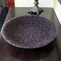 NOVICA Glass centerpiece, Amethysts
