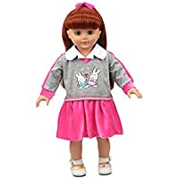 Highmall 16 Inches High Simulation Baby Dolls Clothes School Uniform Skirt Suit Red