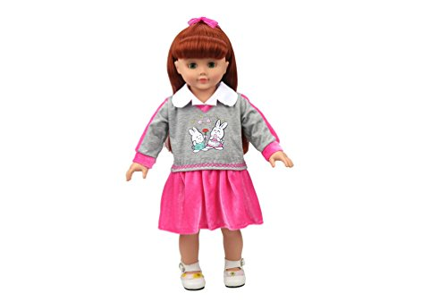 Highmall 16 Inches High Simulation Baby Doll`s Clothes School Uniform Skirt Suit Red