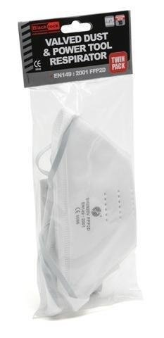 Blackrock Fold Flat Face Disposable Dust Mask Respirator Valved FFP2 NR D - Pack of 2
