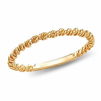 14K Yellow Gold Single Twisted Rope Wedding Band - 6