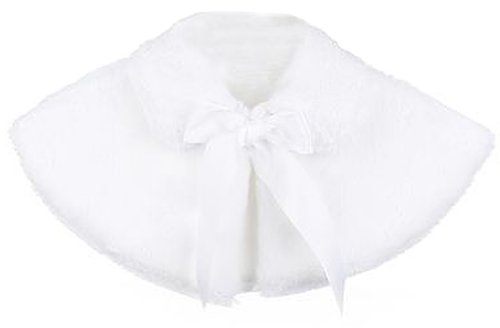 Baby Girl's Soft Faux Fur Cape with Satin Tie in White Infant S (3-6 months)