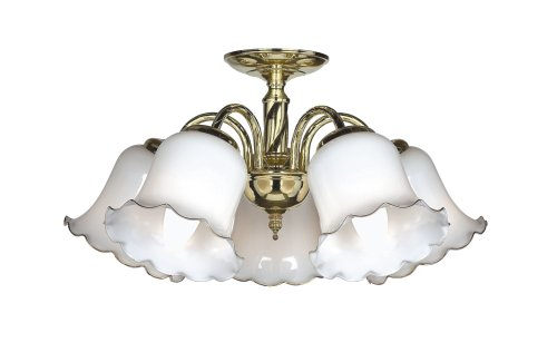 Flush 5 Light Brassed Pendant with Opal Shades 40 Watt Candle