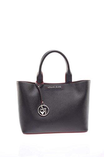 ARMANI JEANS Borsa shopping a mano piccola in saffiano NERO 922531