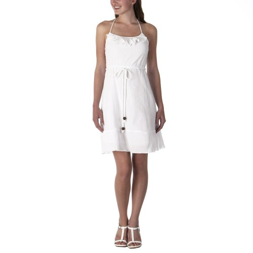 Juniors Halter Dress Ruffled Neckline True White