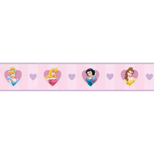 Blue Mountain Wallcoverings DS026296 Princess Heart Cameo Self-Stick Wall Border, 5-Inch by 15-Foot - 1
