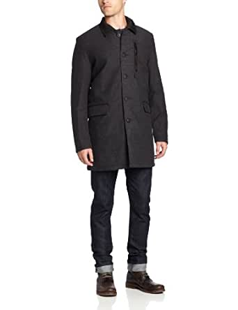 Vince Camuto Men's Reversible Quilted Wool Coat with Removable Vest, Charcoal, Small