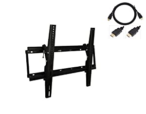 "Black LCD Plasma TV Wall Tilt Bracket Fits All Models - Samsung LG Sony Philips Toshiba (32""-60"")- FREE HDMI Cable"