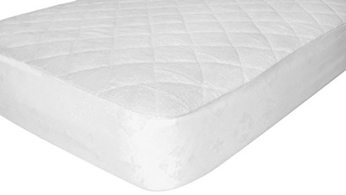 "Healthy baby Ideas Premium Bamboo Viscose Crib Mattress Pad Waterproof With 9"" Deep Fitted Skirt, Unbleached White - 1"