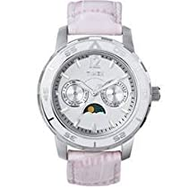 Timex Womens Silver Textured Dial Moon Phase Day & Date Stainless Steel White Leather Watch T2N083