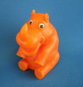 Figur Nashorn orange mit Beleuchtung Trafo für Innenbereich