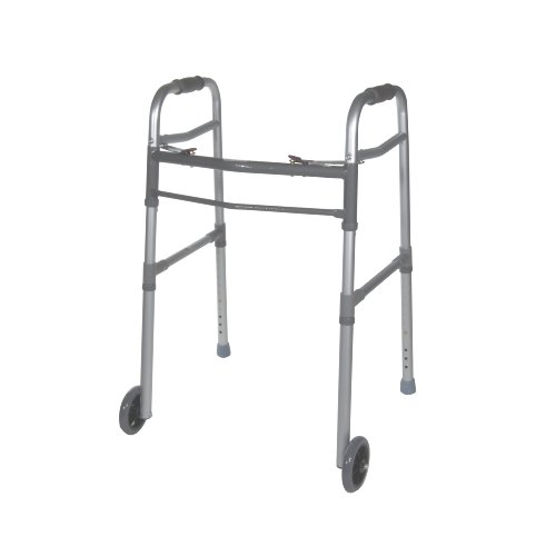 Drive Medical Deluxe Two Button Folding Universal Walker with 5