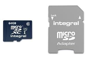 Integral Europe INMSDX64G10-20U1 Carte Mémoire Micro SDXC 64 Go Classe 10
