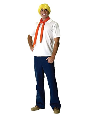 [Men Scooby-Doo Fred Jones Adult Costume Freddy Cartoon Mystery Solvers Std] (Scoobydoo Adult Plus Costumes)