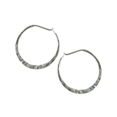 Far Fetched Small Hammered Sterling Silver Hoop Earrings