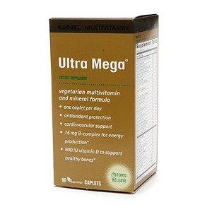 Gnc Ultra Mega Multivitamin, Vegetarian Caplets 90 Ea