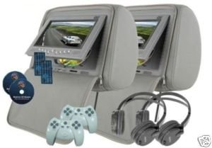 """Pair of Grey/Gray Headrest 7"""" LCD Car Monitors with Region Free DVD player USB SD Inc. Wireless Headhones and 32 Bit Games"""