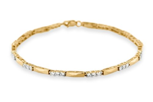 9ct Yellow Gold Cubic Zirconia and Bar Links Bracelet 19cm/7.5