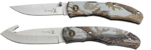 Elk Ridge Er-045Ca Fixed Blade And Folder Hunting Knife Set