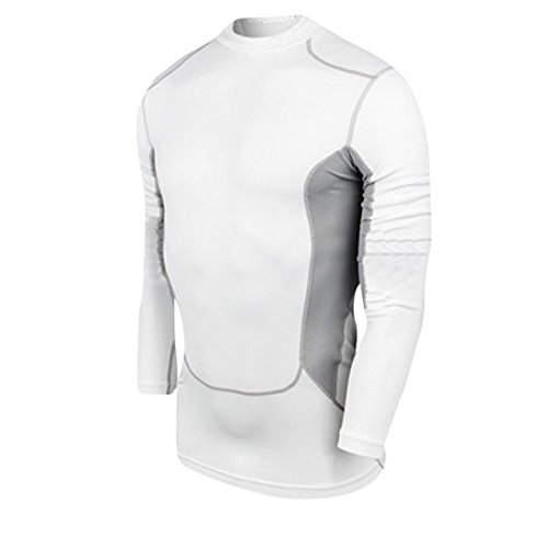 qutool da uomo Sport, corsa, fitness t-shirt manica lunga shirt, Uomo, bianco, XL