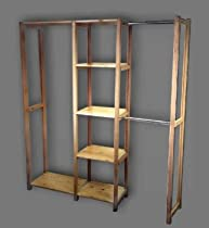 """Hot Sale Simple Closet All Wood Unfinished Sanded Smooth Closet Organization System for 74"""" - 84""""wide Reach in Closet"""