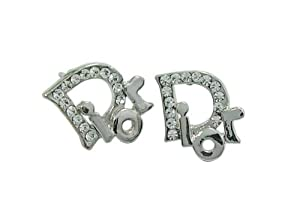 Sterling Silver Plated Fashion Earring White Crystal,Free Small Stud Earring.