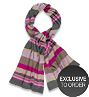M&S Collection Pure Cashmere Fluro Striped Knitted Scarf