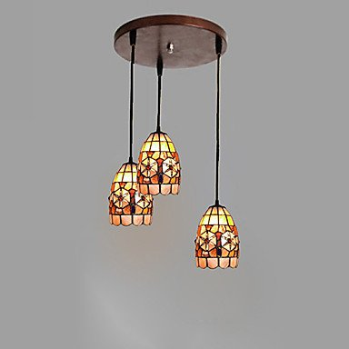 60W E27 3-Light Pendent Lights With Shade In Shell Feature