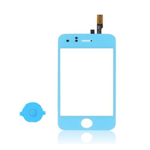 Epartsolution-Blue Iphone 3Gs Touch Screen Digitizer With Home Button Lens Replacement Part Usa Seller front-532131