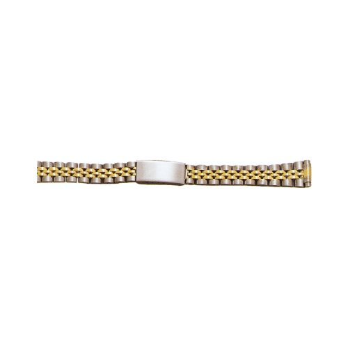 Two-Tone White/Yellow Ladies Metal Watch Band Fits Sizes 10 - 14Mm