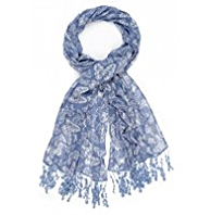 Indigo Collection Lightweight Scattered Butterfly Print Scarf
