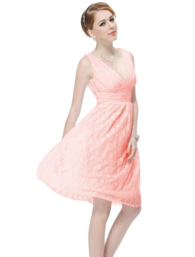 He03410Pk08, Pink, 6Us, Ever Pretty Sexy V-Neck Easter Bridesmaid Dress 03410