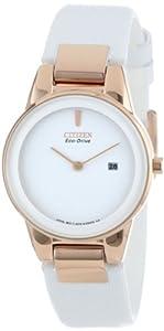 Citizen 西铁城 GA1053-01A Axiom光动能白色表带玫瑰金女士腕表限时折后 $131.62