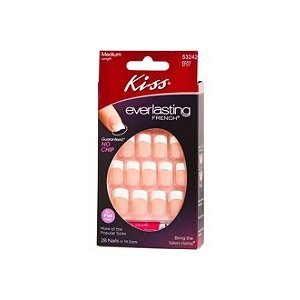 Kiss Kit d'ongles artificiels Everlasting French - Sans écaillage - Coloris Perpetual (Lot de 2)