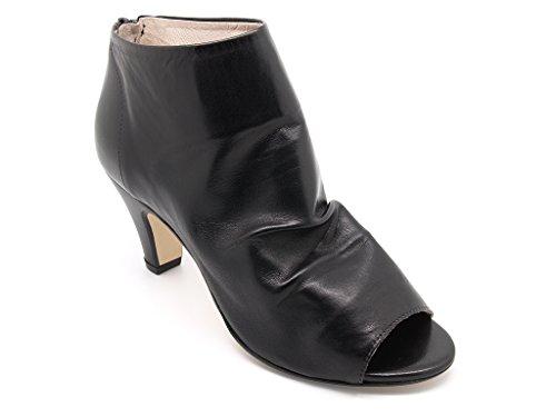 Carmens Padova tronchetti donna con punta aperta, gambale in pelle nera sfoderata, chiusura zip, suola di gomma (EU 37)