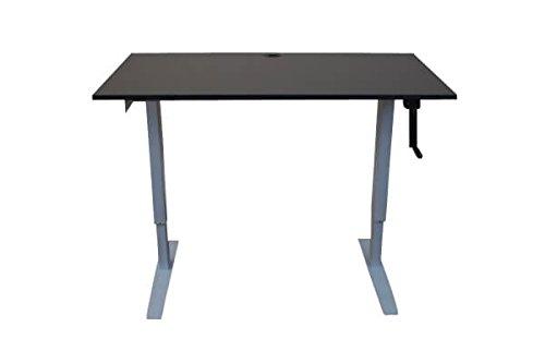 Crank Adjustable Standing Desk with Built-In Charging Station and Black Top by Rebel Desk