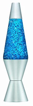 Lava Lamp 14.5-inch Glitter Lava Lamp, Turquoise and Silver
